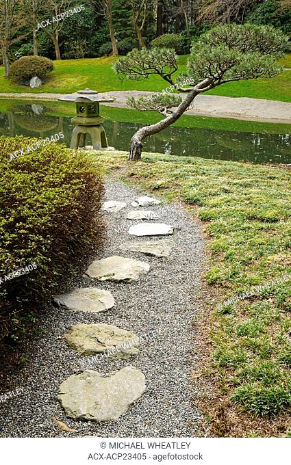 Remembering lantern in Nitobe Memorial Garden, Vancouver, British Columbia, Canada