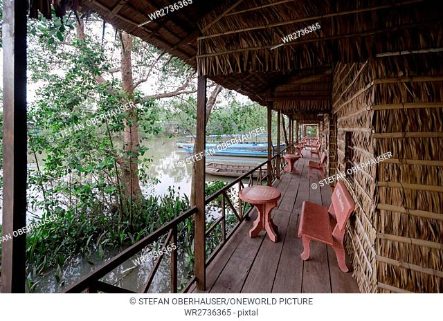 Vietnam, Can Tho, veranda of a traditional Vietnamese house on the banks of the Mekong River