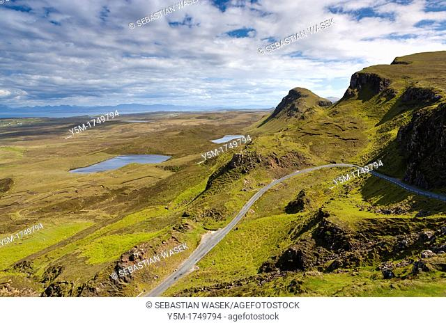 View from The Quiraing, a landslip on the eastern face of Meall na Suiramach over Loch Leum na Luirginn and Loch Cleat, the northernmost summit of the...