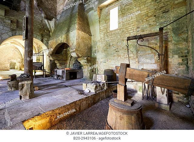Hydraulic Hammer, Forge, Abbaye Royale de Notre Dame de Fontenay, Fontenay Cistercian Abbey, Montbard, Côte d'Or, Burgundy Region, Bourgogne, France, Europe