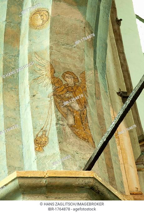 Mural painting The Last Angel of Amsterdam, Oude Kerk church, Dutch for old church, Amsterdam, Holland, Netherlands, Europe