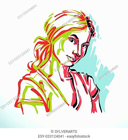 Face features and personality emotions Stock Photos and