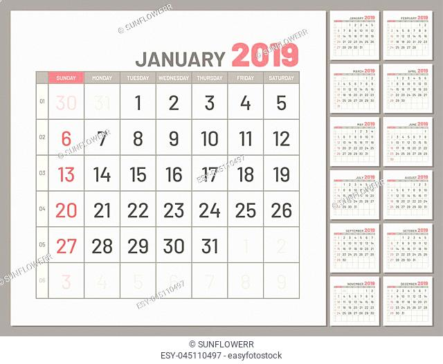 Set planners, January 2019, twelve months, flat. Collection of calendars for whole year for planning, taking notes and so on