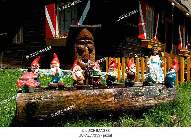 View of miniature garden gnomes lined up on a log, Maltatal, Kaernten, Austria