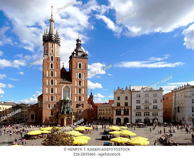 Poland Krakow St Marys Church at Main Market Square