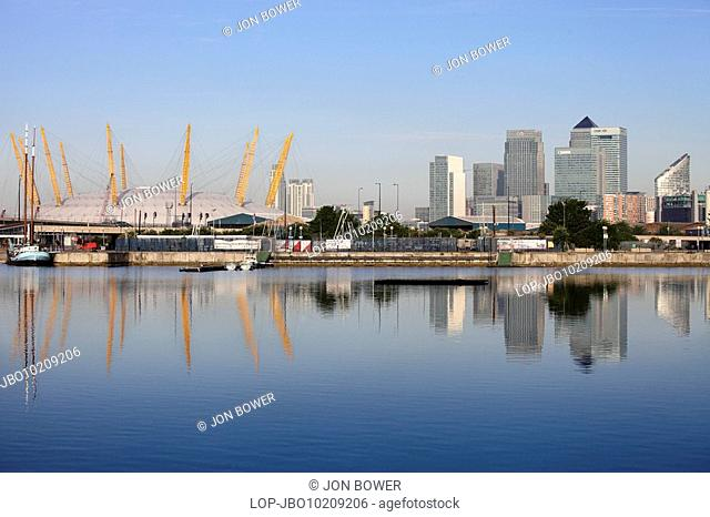 England, London, Docklands, The O2 formerly known as the Millennium Dome on the Greenwich peninsula in South East London and the Canary Wharf development