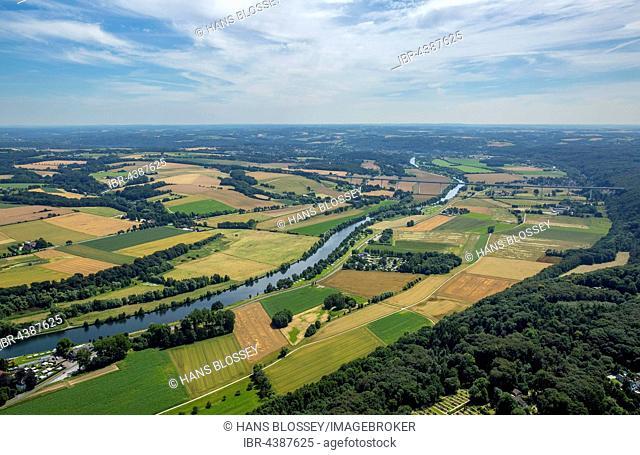Aerial photograph, Ruhr valley, Ruhr district, Ruhr floodplains, Mülheim an der Ruhr, Ruhr district, North Rhine-Westphalia, Germany