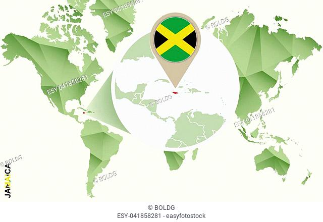 Infographic for Jamaica, detailed map of Jamaica with flag. Vector Info graphic green map
