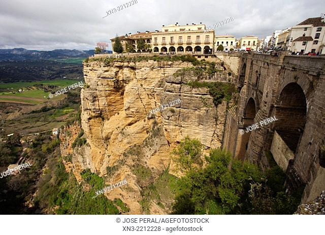 Parador Nacional state-run hotel, 'El Tajo' canyon or gorge of Ronda from New Bridge, Puente Nuevo, Guadalevín River, Ronda, White Towns, Malaga province