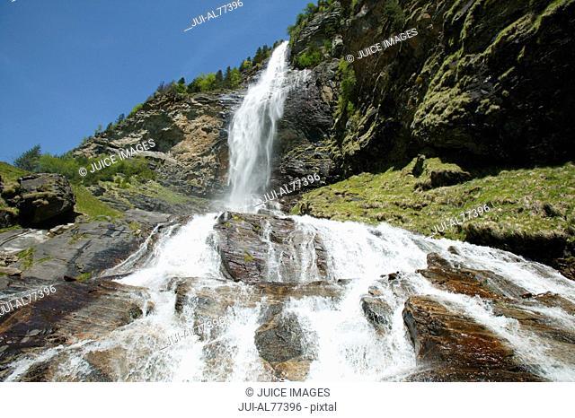 View of waterfall, Fallbach, Kaernten, Maltatal, Austria