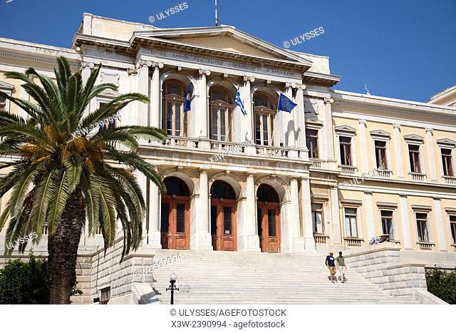 Miaouli square and city hall, Hermoupolis, Syros island, Cyclades, Aegean Sea, Greece, Europe