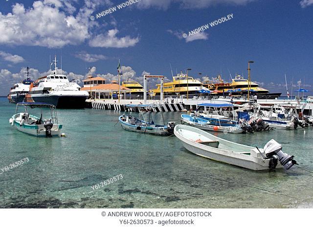 Ferry dock San Miguel de Cozumel Mexico