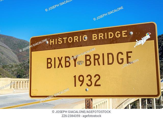 Bixby Bridge sign. Big Sur, California, United States