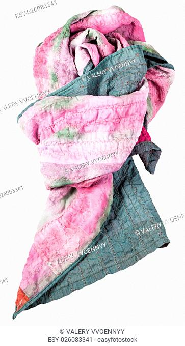 knotted handmade sewing green and pink batik silk scarf isolated on white background