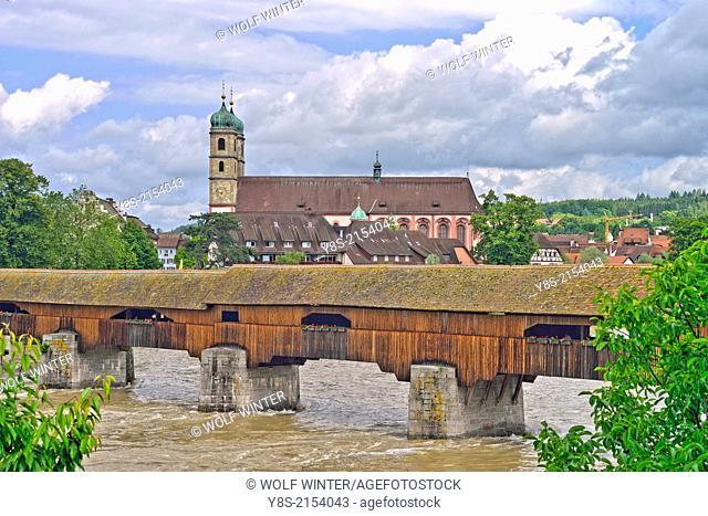 Covered wooden bridge across the river Rhine at Bad Saeckingen, Baden-Wuerttemberg