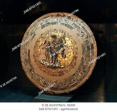 Philip II of Macedonia's gold and ivory shield, from the Royal tombs of Vergina, Greece, Greek civilisation, 4th century BC