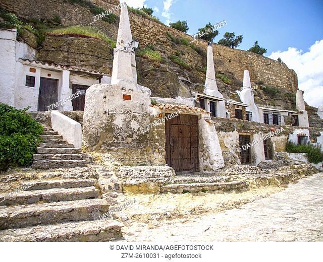 Casas-cueva del agujero. Chinchilla de Montearagón. Albacete. España. Conjunto histórico artístico