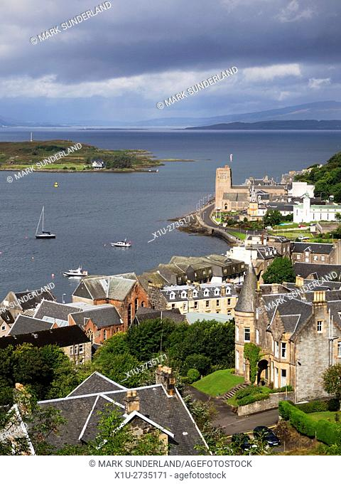 View over Oban Bay and St Columbas Cathedral from McCaigs Tower above Oban Argyll and Bute Scotland