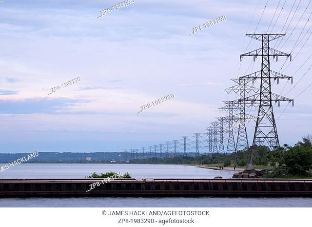 Pier and hydro lines along the waterfront, Hamilton, Ontario, Canada