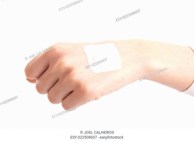 hand with Adhesive Bandage