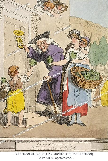 'Water Cresses, come buy my Water Cresses'. An old man stands at the door of a brothel at the corner of Portland Street, with two prostitutes leaning out of a...