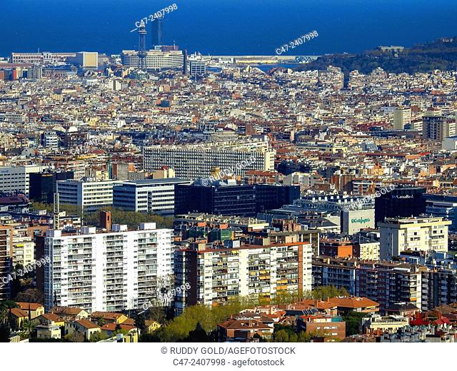 Harbour in background. Barcelona, Catalonia, Spain