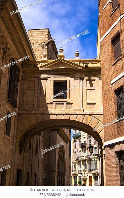 The passage between the cathedral and the Basilica of Our Lady of the Forsaken, Valencia, Spain