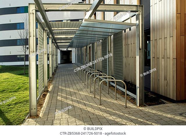 Cycle rack, University of East London, Docklands Campus, East London, UK