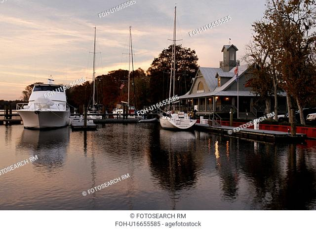 Myrtle Beach, SC, South Carolina, The Grand Strand, marina, inlet, sunset
