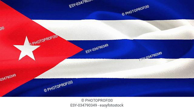 flag of Cuba waving in the wind. Silk texture pattern