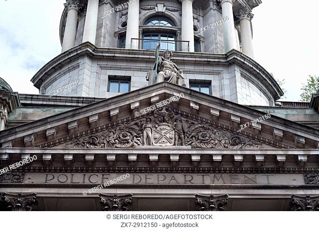 The New York City landmark the Police Department Building Apartments showing the dome, pillars and condiments over the entrance