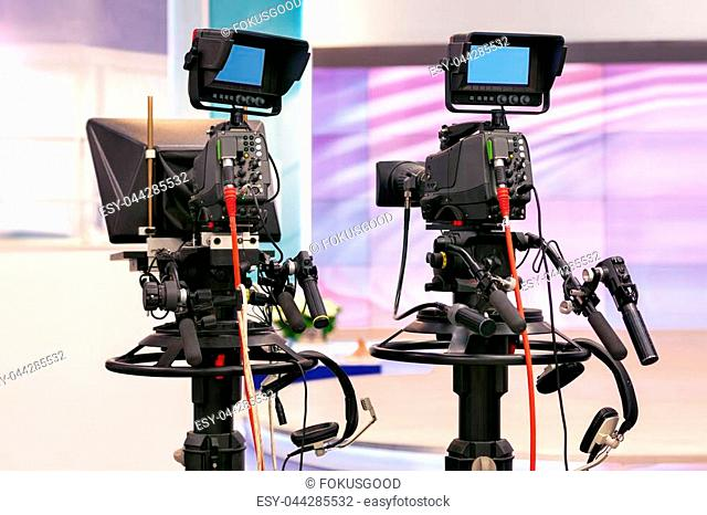 television cameras in a television Studio during a break