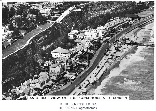 An arial view of the foreshore at Shanklin, 1936. Sights of Britain, second series of 48 cigarette cards, issued with Senior Service, Junior Member