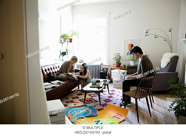 Young activists meeting planning in living room