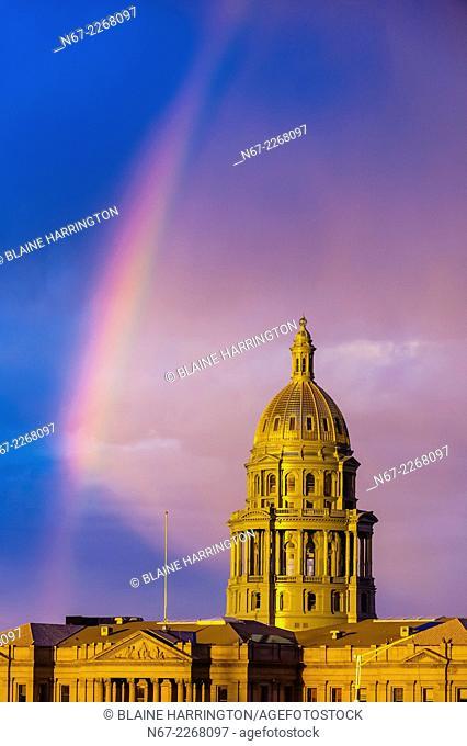 Colorado State Capitol Building with rainbow above, Downtown Denver, Colorado USA