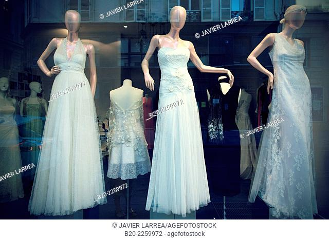Showcase wedding dresses. Paris. France