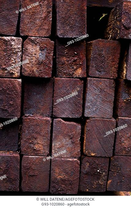 Pile of used wood railroad ties Stock Photos and Images