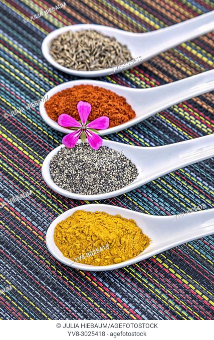 Organic cooking spices served in spoons