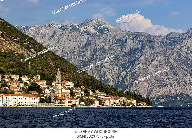 Mountains at waterfront, Perast, Dalmatia, Montenegro