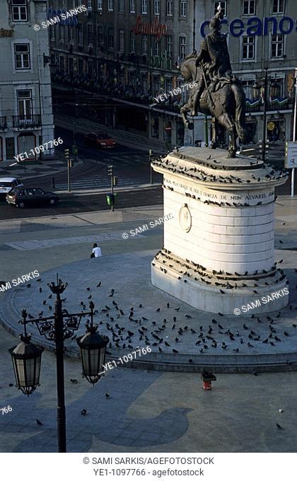 Pigeons surrounding the Dom Joao I statue on Praça da Figueira, Lisbon, Portugal