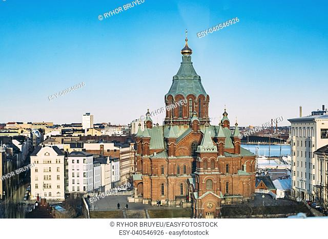 Helsinki, Finland. Aerial View Of Uspenski Cathedral On Hill At Winter Sunny Day. Red Church - Tourist Destination In Finnish Capital