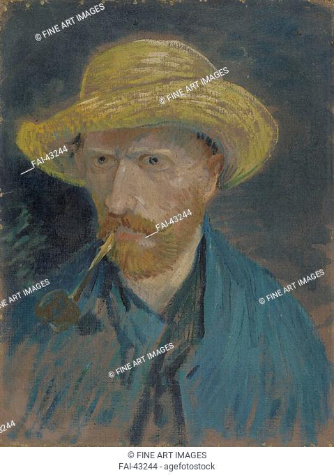 Self-Portrait with Straw Hat and Pipe by Gogh, Vincent, van (1853-1890)/Oil on canvas/Postimpressionism/1887/Holland/Van Gogh Museum, Amsterdam/42,5x32