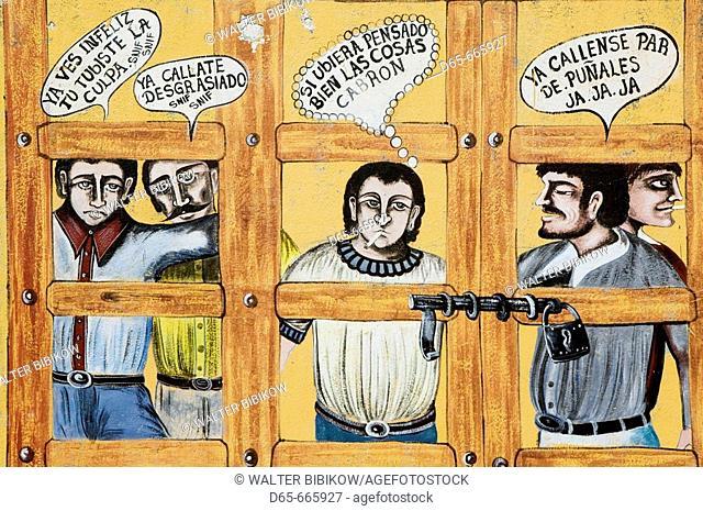 MEXICO-Guanajuato State-Rancho Viejo: Rancho Viejo Arts Market- Mexican Mural
