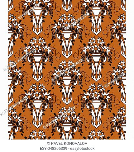 Damask Seamless Pattern. Elegant Outline Design in Royal Baroque Style Background Texture. Floral and Swirl Element. Ideal for Textile Print and Wallpapers