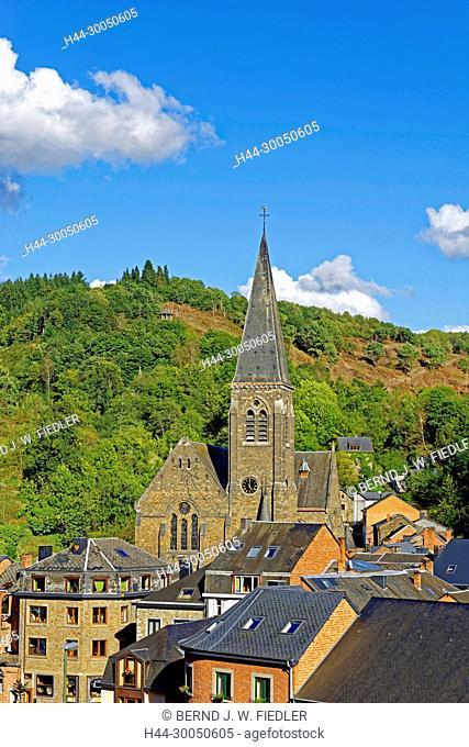 Local view, church, La Smelling Roche-en-Ardenne Belgium