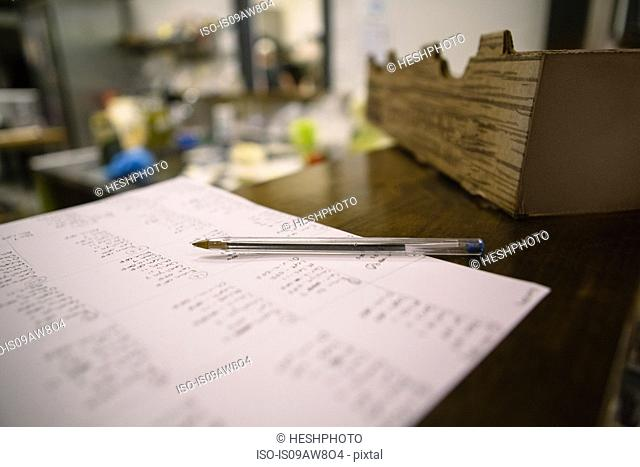 Close up of pen and notes in general store