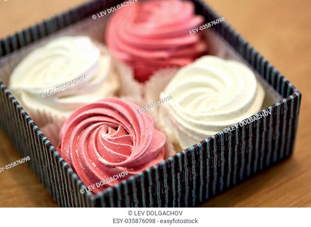 close up of zephyr or marshmallows in gift box