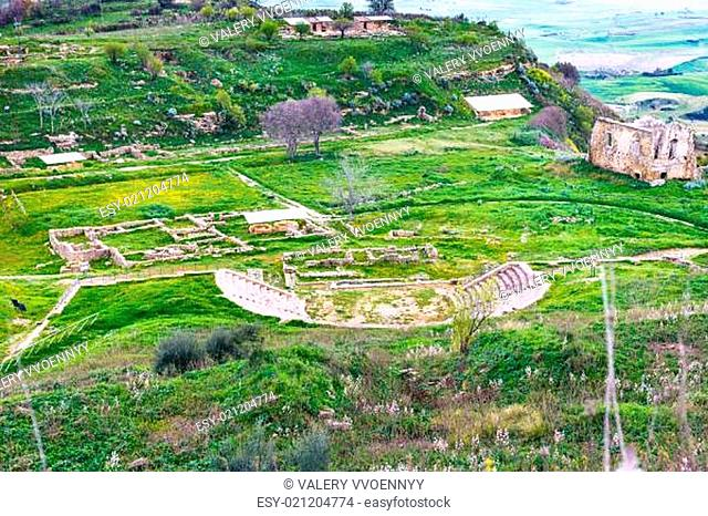 above view of ancient greek theater in Morgantina area, Sicily, Italy