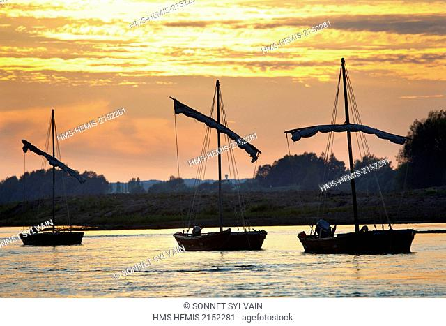 France, Loir et Cher, Loire Valley listed as World Heritage by UNESCO, Chaumont sur Loire, river boats (gabares) on the Loire river at Sunset