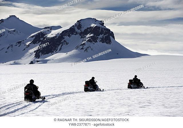 Snow sleds on Langjokull Ice Cap, Iceland